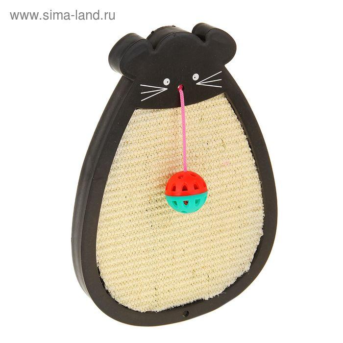 """Когтеточка сизалевая подвесная """"Мышь"""" в пластиковом корпусе с шариком, 24 х 33,5 см"""