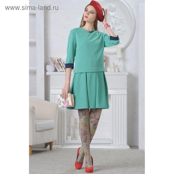 Блуза женская, размер 48, рост 164 см, цвет мятный/тёмно-синий 4656