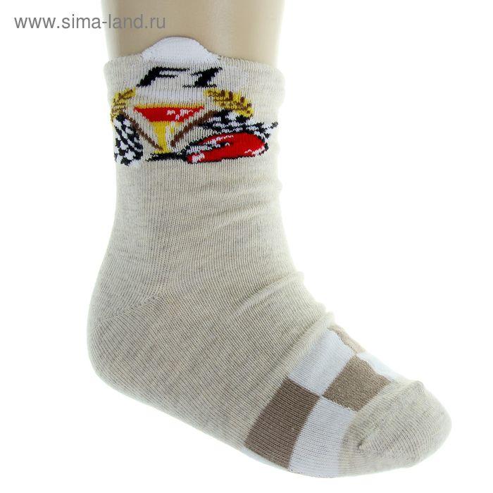 Носки детские, размер 16-18 (разм.обуви 26-28), цвет серый/бежевый 5В400