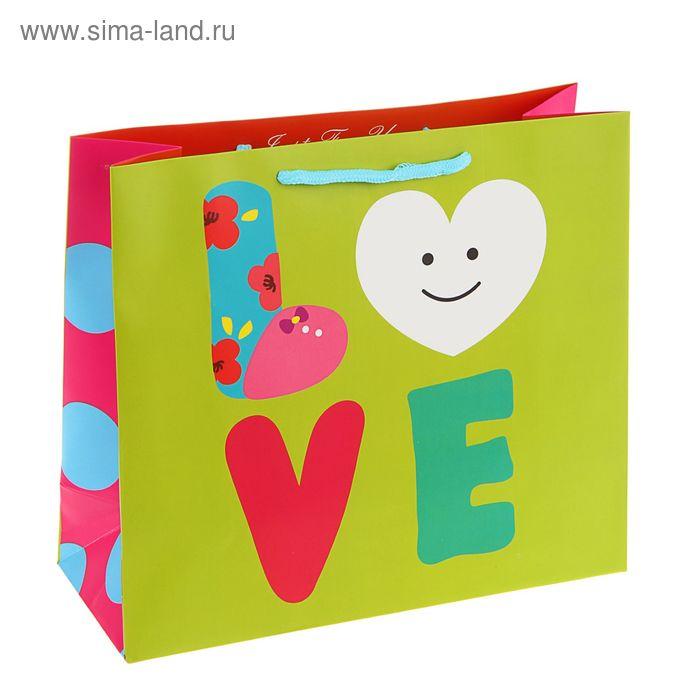 """Пакет подарочный """"Любовь"""", салатовый 20х20х8 см"""