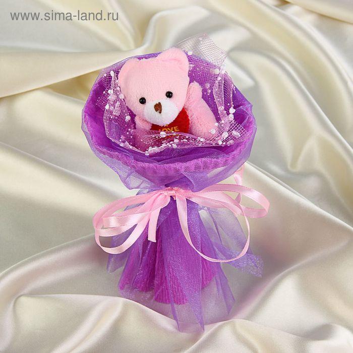 """Букет из игрушек """"Мишка-малышка"""" фиолетовый"""