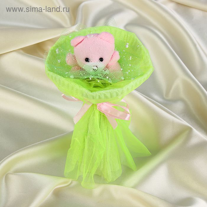 """Букет из игрушек """"Мишка-малышка"""" зелёный"""