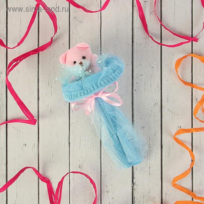"""Букет из игрушек """"Мишка-малышка"""" голубой"""