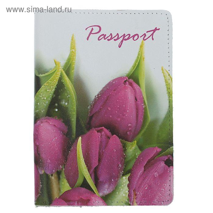 """Обложка для паспорта """"Тюльпаны"""", фотопечать"""