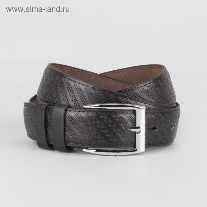 Ремень мужской, винт и пряжка под серебро МИКС, 2 строчки, ширина - 3,5см, чёрный