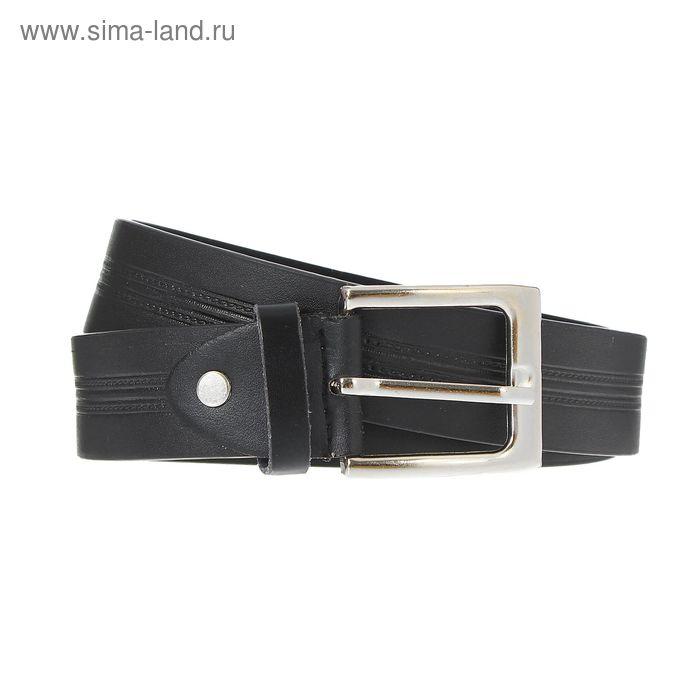 Ремень мужской, винт и пряжка под серебро, ширина - 3,5см, чёрный