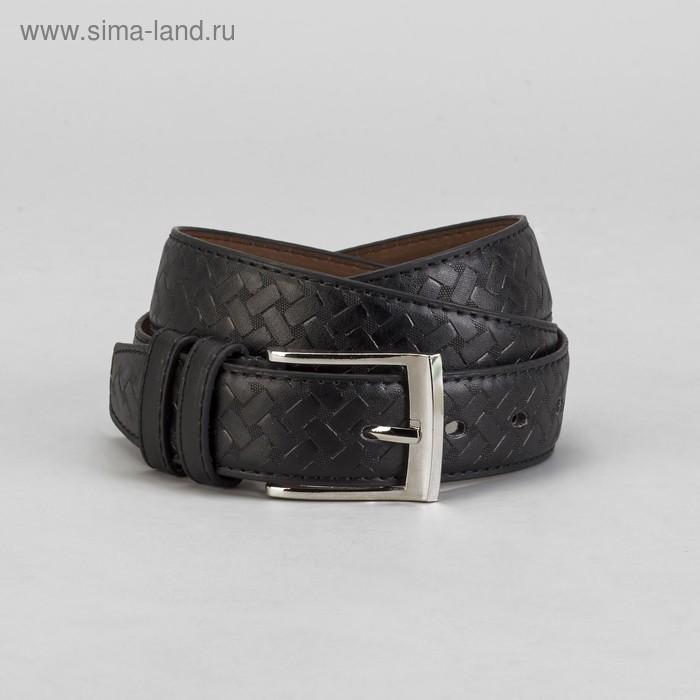 Ремень мужской, винт и пряжка под серебро, 2 строчки, ширина - 3,5см, чёрный