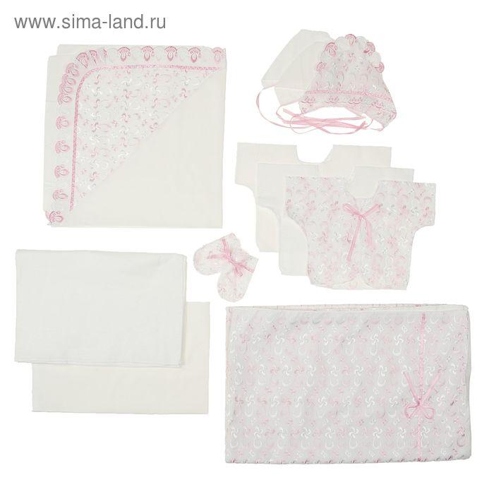 """Комплект на выписку всесезонный """"Непоседа"""", 11 предметов, цвет белый/розовый К-23-3-11Ш(ПВ)   136115"""