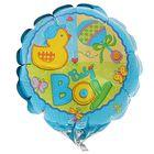 """Шар фольгированный 4"""" Happy Birthday """"Малыш мальчик"""", круг, для палочки"""
