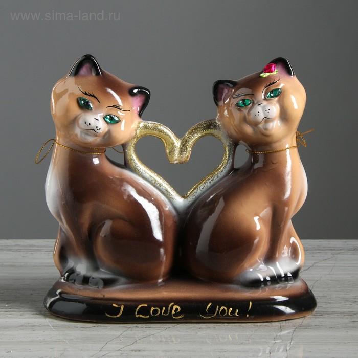 """Копилка """"Коты"""" сердце, малая, глянец, на подставке, микс"""