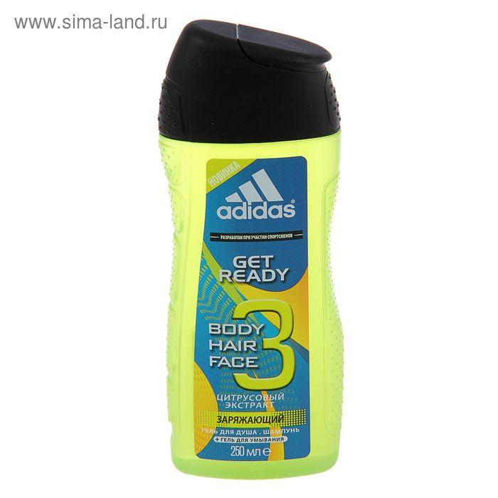 Гель для душа, шампунь и гель для умывания для мужчин Adidas  Get Ready, 250 мл
