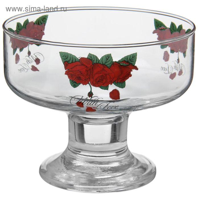 """Креманка 310 мл """"Бархатная роза, 11х11х9 см"""