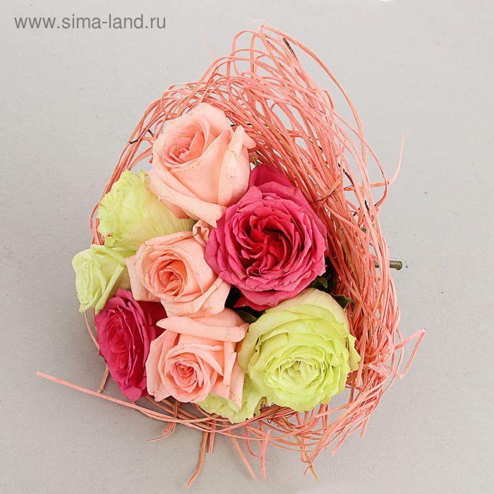 Каркас для букета, 25 см, ротанг, светло-розовый