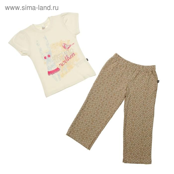 Пижама для девочки (футболка, брюки), рост 98-104 см (30), цвет коричневый/принт (арт. 357Б-182)