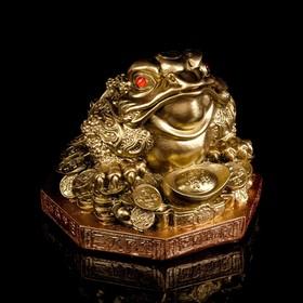 """Копилка """"Денежная жаба"""" большая, золото, стразы, подставка"""