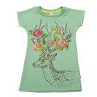 Платье для девочки, рост 98-104 см (30), цвет зелёный/принт (арт. 118Б-461)