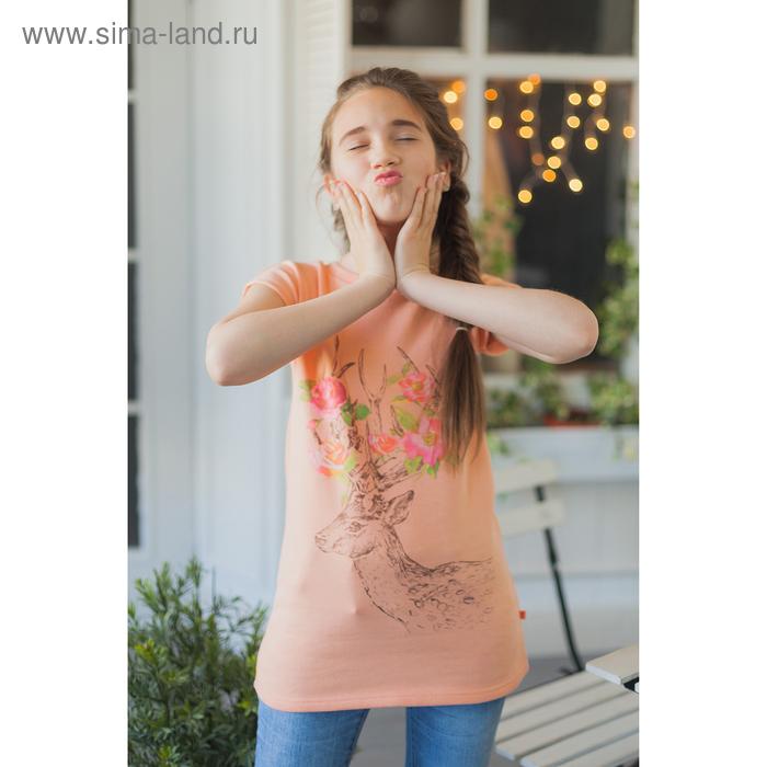Платье для девочки, рост 122-128 см (34), цвет персик/принт (арт. 118Б-461)
