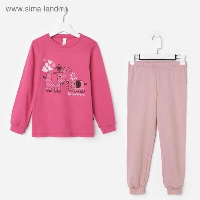 Пижама для девочки (джемпер, брюки), рост 134-140 см (36), цвет розовый/принт (арт. 356Б-161)