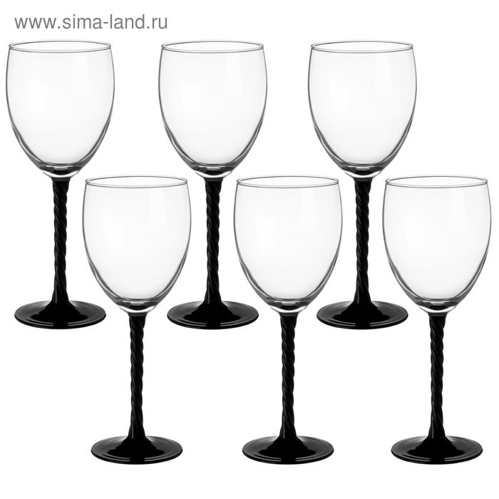 """Набор фужеров для вина 310 мл """"Аутентик. Черный"""", 6 шт"""
