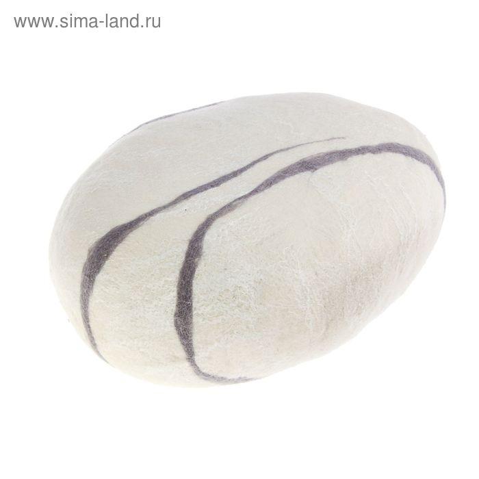 """Декоративная подушка из войлока """"Белый камень"""" диаметр 30 см"""
