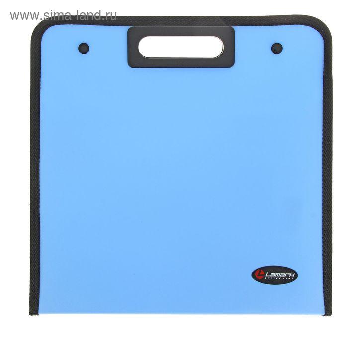 Папка-портфель A4 13 отделений Lamark вырубная ручка, с текстильной окантовкой, кнопки, синий