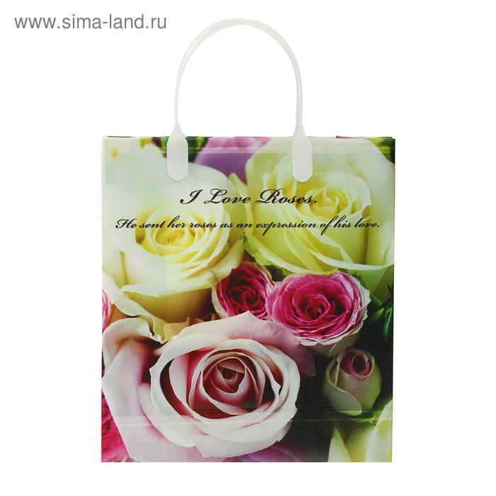 "Пакет ""Фламинго"" мягкий пластик, объемный 26х23 см"