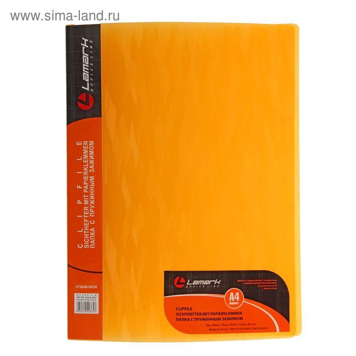 Папка А4 с пружинным скоросшивателем Lamark 600мкм с торцевым карманом,текстура-волна, оранжевая