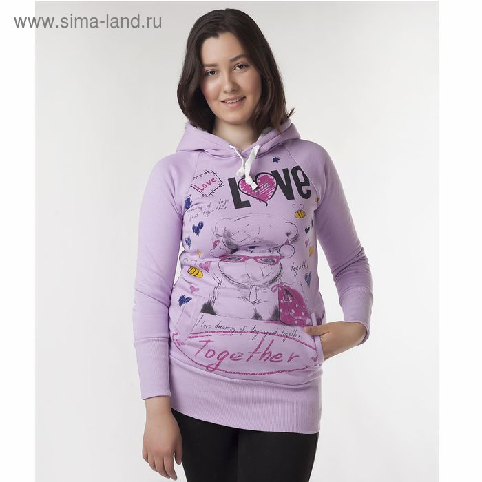"""Худи женские """"Мишка лав"""", цвет фиолетовый, размер 46 (M) (арт. ХЖ-СТ0004)"""