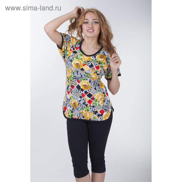 Комплект женский (футболка на бейках, леггинсы), цвет МИКС, размер 44 (арт. а682s)