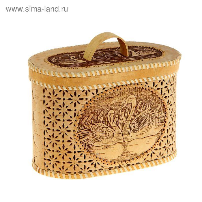 Хлебница резная 30 х 17 х 20 см,  береста