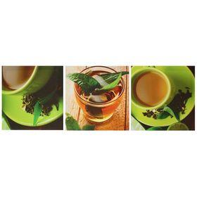 Модульная картина на подрамнике 'Чашка чая', 3 шт. — 28×28 см, 28×84 см Ош