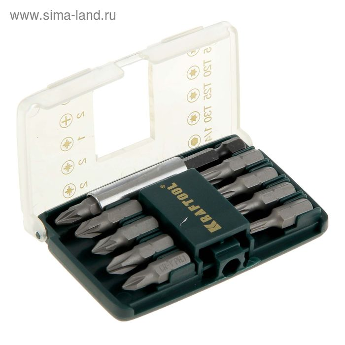 Набор KRAFTOOL Expert, Mini- 2, биты с магнитным адаптером в мини бит-боксе, 10 предметов