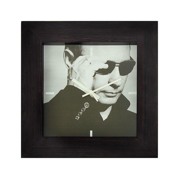 """Часы настенные квадратные """"ПУТИН"""", деревянная рамка, 35х35 см"""