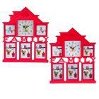 Часы настенные Family House, розовые, циферблат микс + 5 фоторамок: 10 × 10 см (2 шт.) и 10 × 15 см (3 шт.)