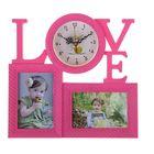 Часы настенные Love, розовые + 2 фоторамки 10 × 15 см