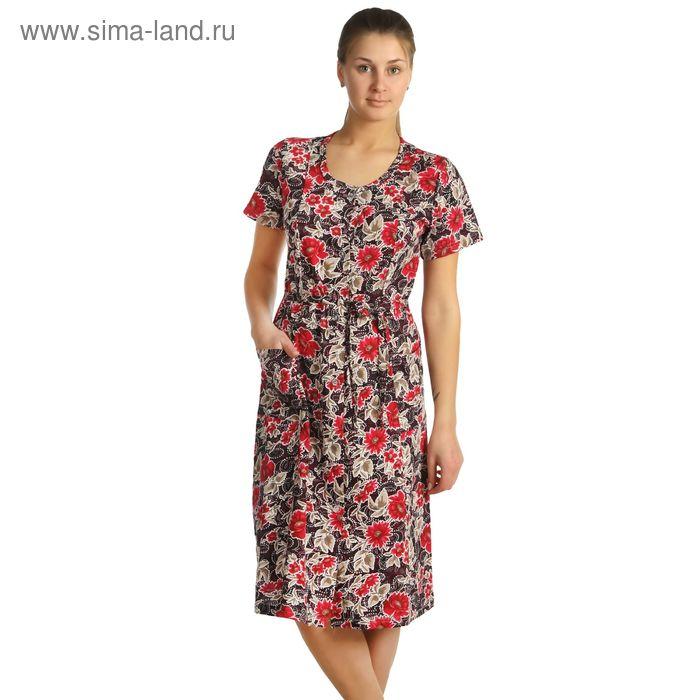 Халат женский на пуговицах Москвичка, цвет МИКС, размер 52