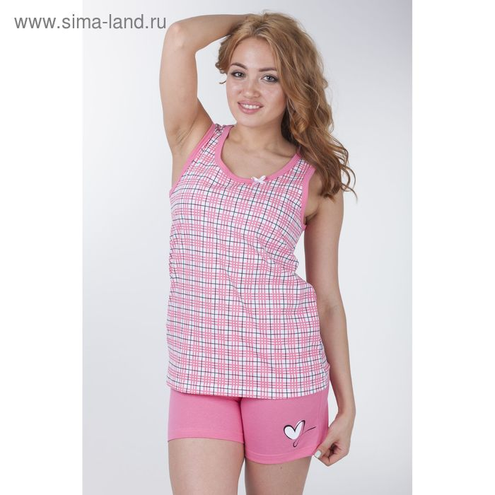 """Пижама женская """"Клетка-сетка"""", цвет розовый, рост 158-164 см, размер 50 (арт. Р208067)"""