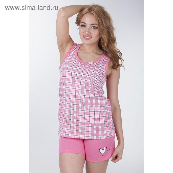"""Пижама женская """"Клетка-сетка"""", цвет розовый, рост 158-164 см, размер 48 (арт. Р208067)"""