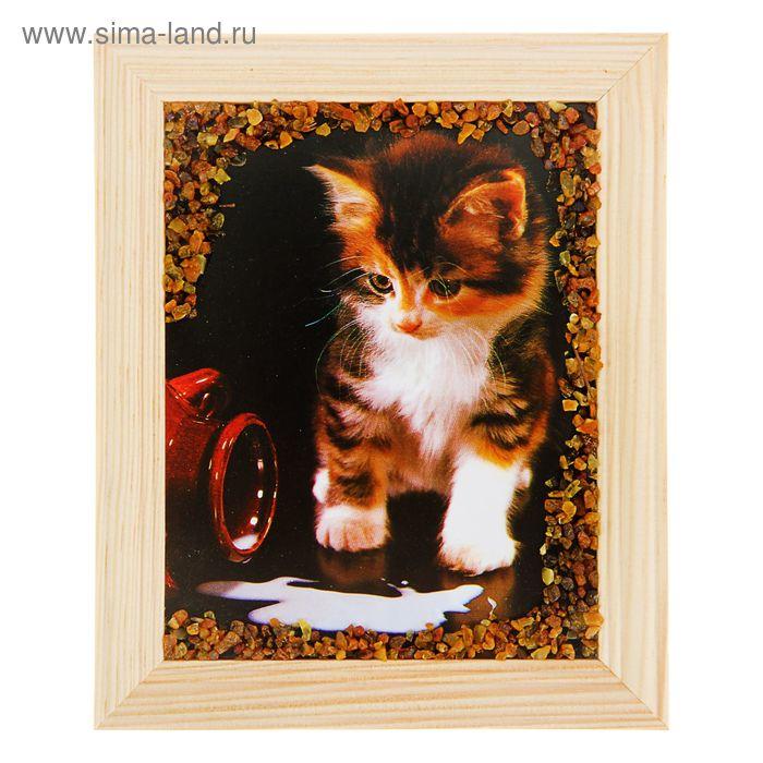 """Картина янтарь 12х15 см светлая рама """"Животные, птицы"""" микс"""