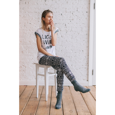 Комплект женский (футболка, брюки) Р608100 белый, рост 170-176, р-р 48 вискоза