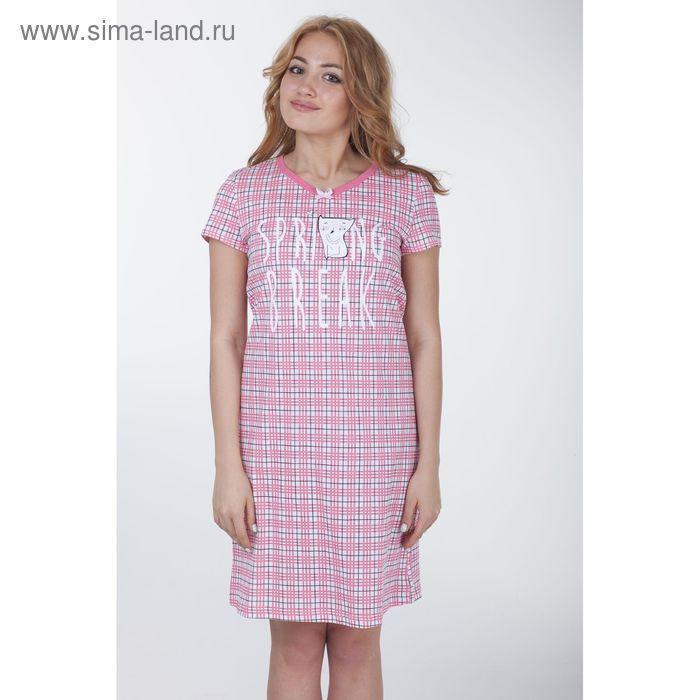 """Сорочка женская """"Клетка-сетка"""", цвет розовый, рост 158-164 см, размер 48 (арт. Р308068)"""