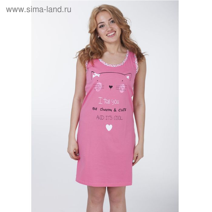 """Сорочка женская """"Кисуля"""", цвет розовый, рост 170-176 см, размер 54 (арт. Р308069)"""