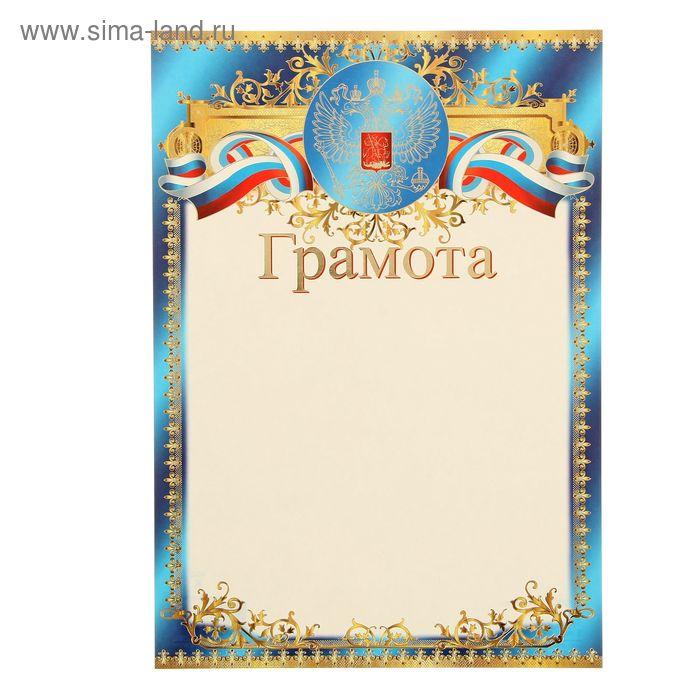 """Грамота """"Россия"""" герб и триколор, синие поля, фольга"""