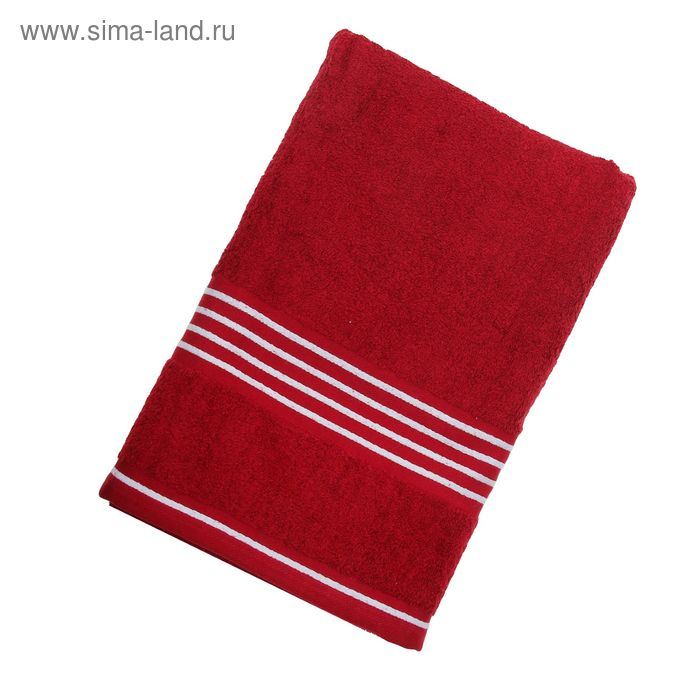 Полотенце махровое Rio-Uni vollfarbig, размер 70х140 см, 500 г/м2, цвет бордо/белый