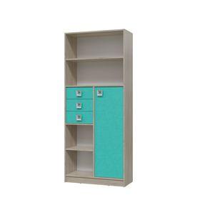 Шкаф стеллаж с дверкой и ящиками СИТИ 800*355*1905 Дуб сонома/Аква