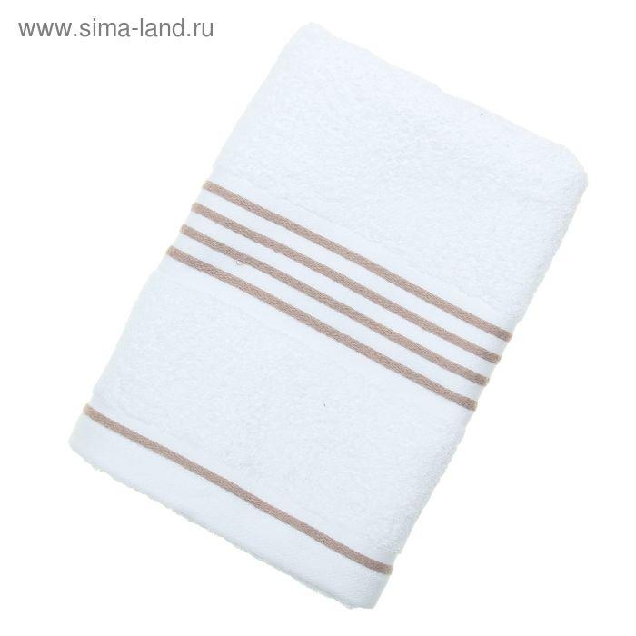 Полотенце махровое Rio-Uni weisgrundig, размер 50х100 см, 500 г/м2, цвет белый/песочный