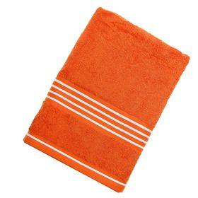 Полотенце махровое банное Rio-Uni vollfarbig, размер 70х140 см, 500 г/м2, цвет оранжевый/белый