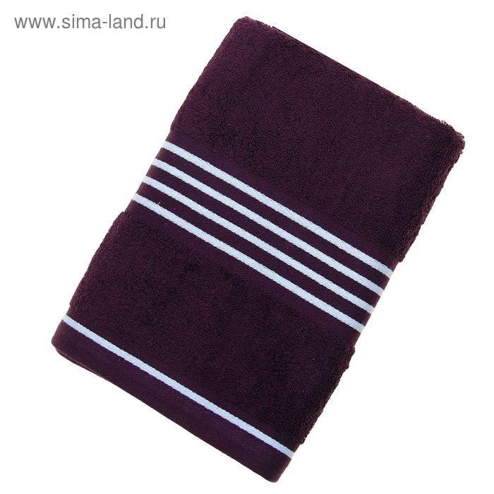Полотенце махровое Rio-Uni vollfarbig, размер 50х100 см, 500 г/м2, цвет черничный/белый
