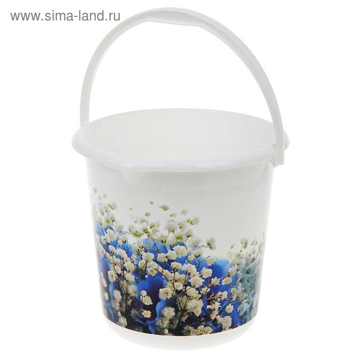 Ведро 10 л ДЕКО, голубые цветы