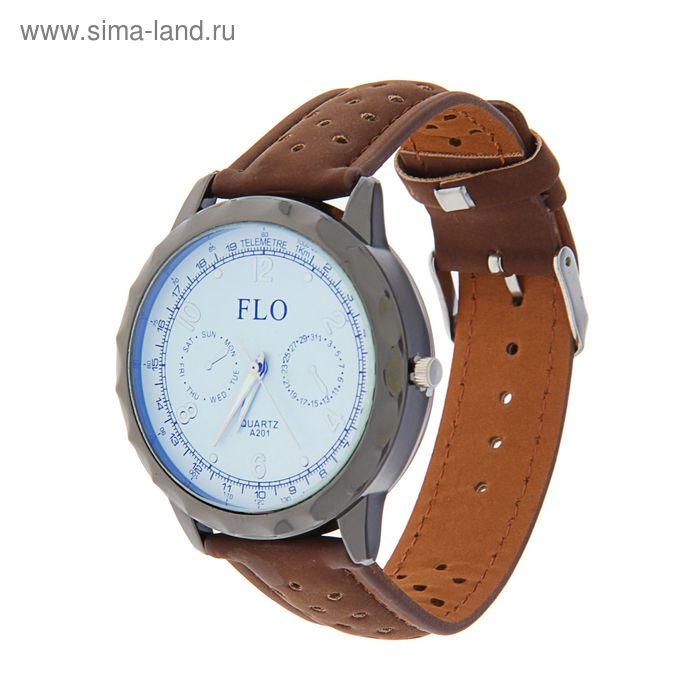 Часы наручные мужские FLO 2 циферблата, ремешок коричневый